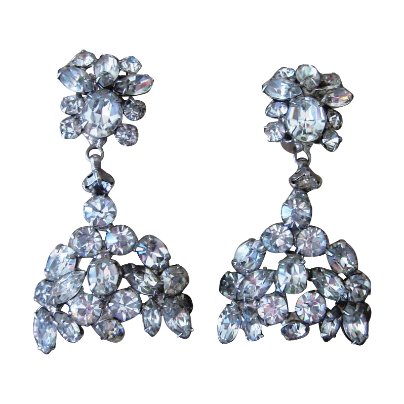 Huge Quality Early Vintage Rhinestone Runway  Earrings