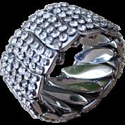 Chunky and Wide Rhinestone Encrusted Expandable  Vintage Bracelet