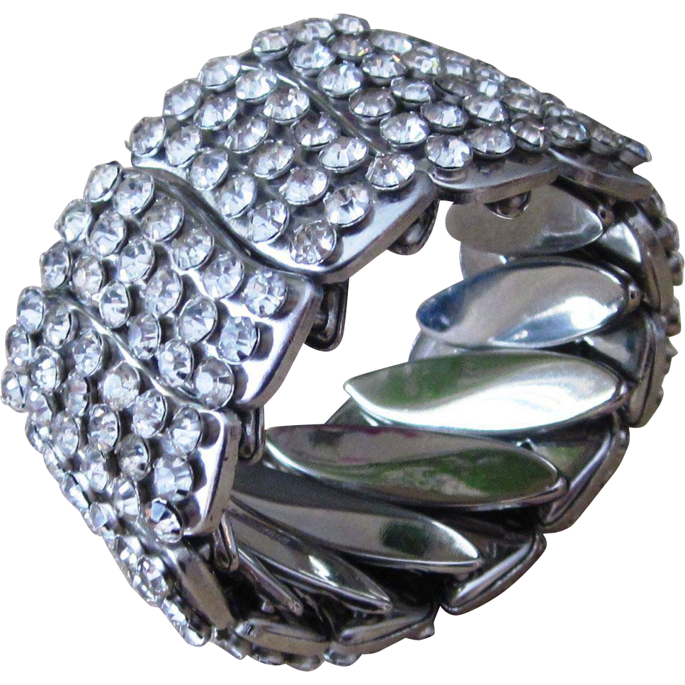 Chunky and Wide Rhinestone Encrusted Expandable  Vintage Bracelet