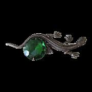 Sadie Green  Large  Vintage Lizard and Green Signed Brooch