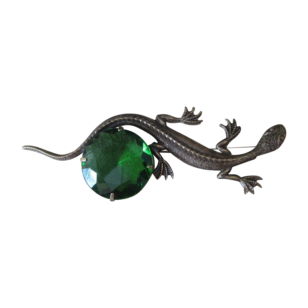 Sadie Green  Large  Vintage Lizard and Green Signed Brooch