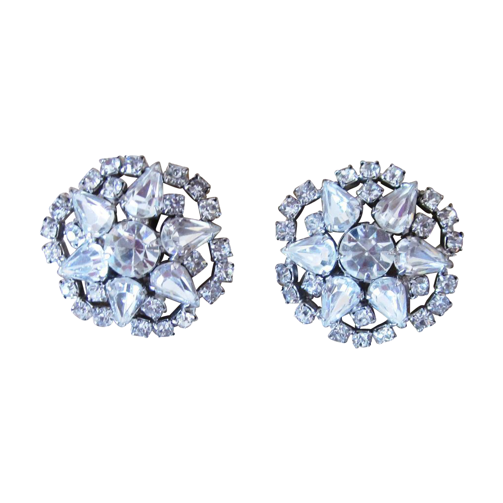 Hattie Carnegie Signed Large Button Rhinestone Earrings