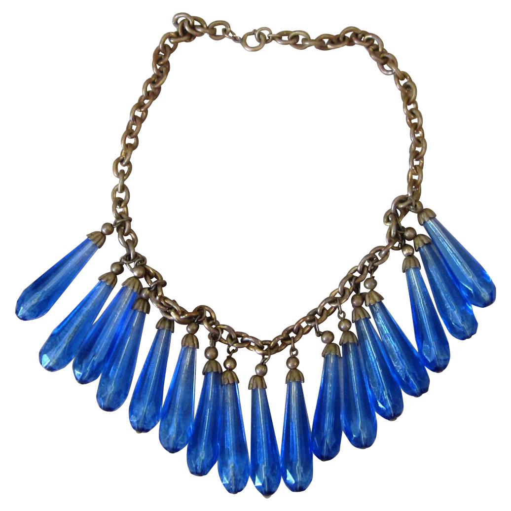 Amazing Blue Glass Festoon Dangle Vintage Necklace