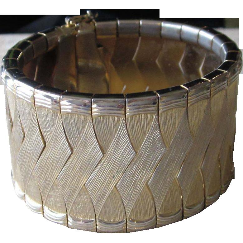 Chunky Gold Tone Wide Vintage Bracelet