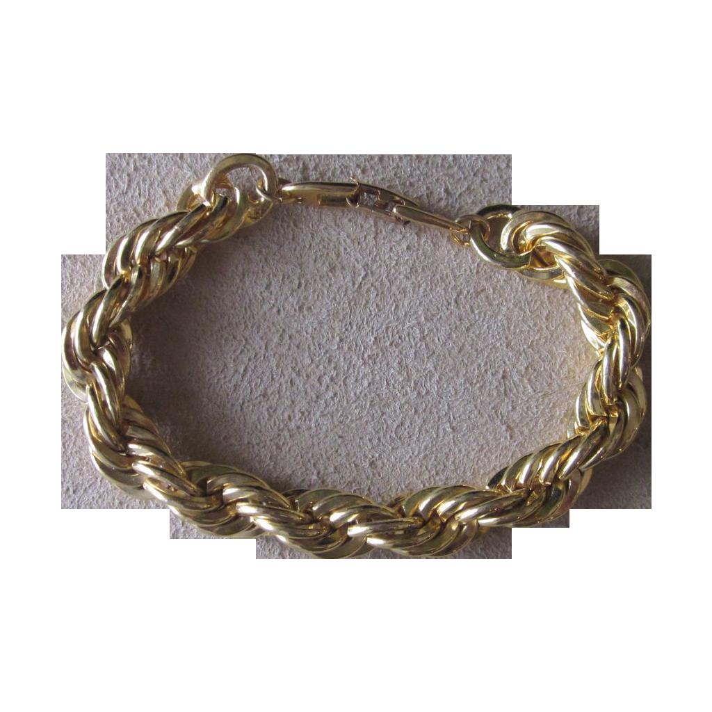 Napier Vintage Thick Gold Tone Rope Chain Bracelet