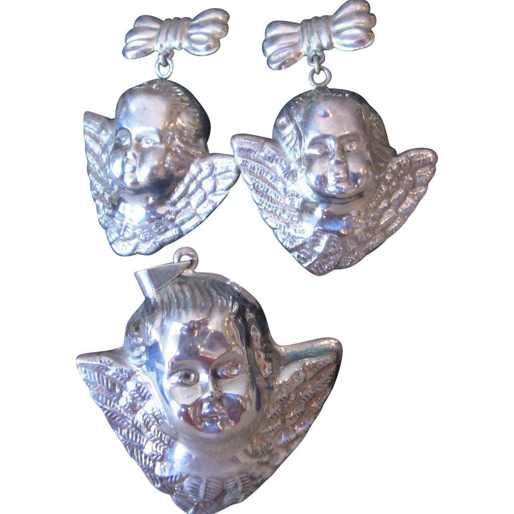 Sterling Cherub Putti Fabulous Vintage Pendant and Earrings