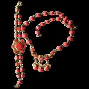 Coral Glass Vintage Unique Necklace and Bracelet