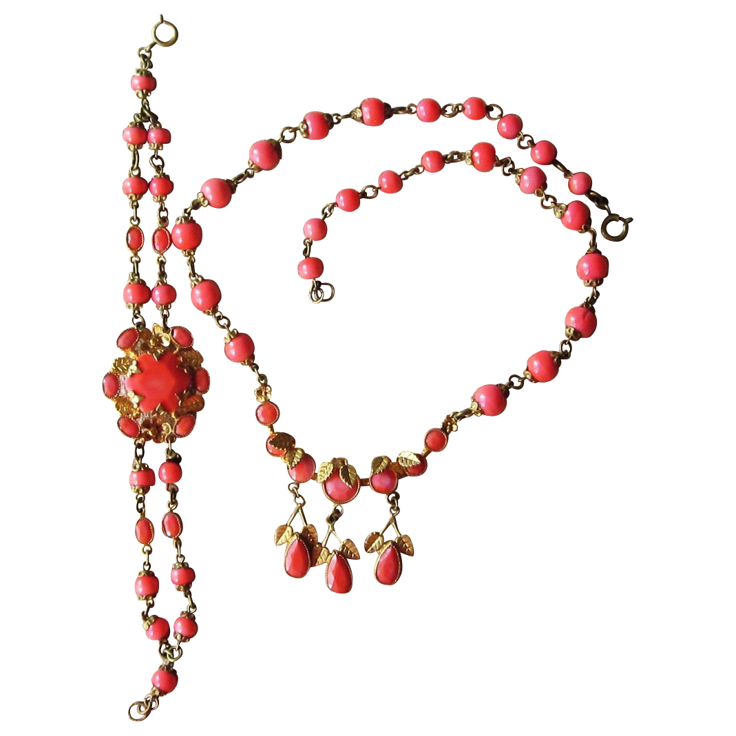 Coral Glass Vintage Unique Necklace and Bracelet