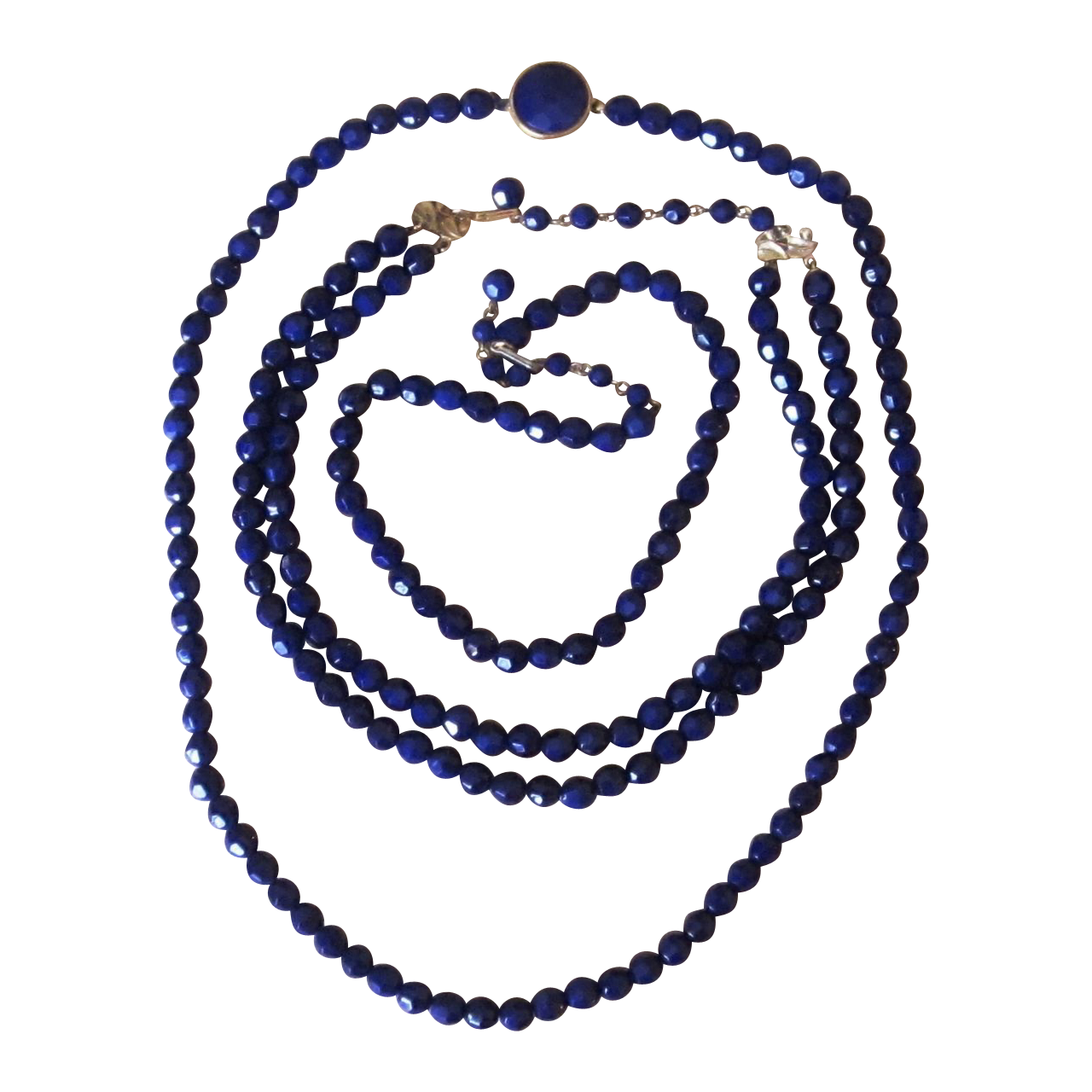 3 Navy Glass Vintage Beaded Necklaces and Earrings