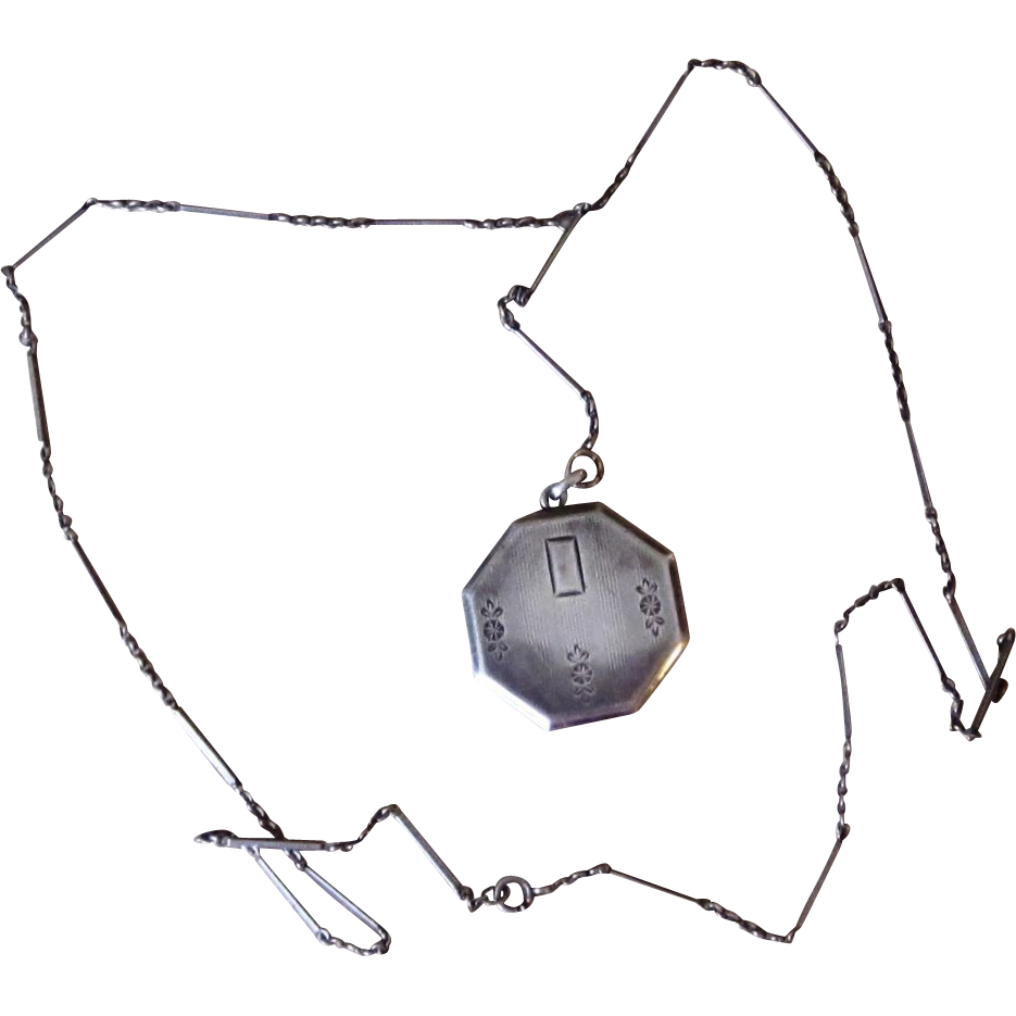 Victorian  Sterling Lorgnette Chain With Locket
