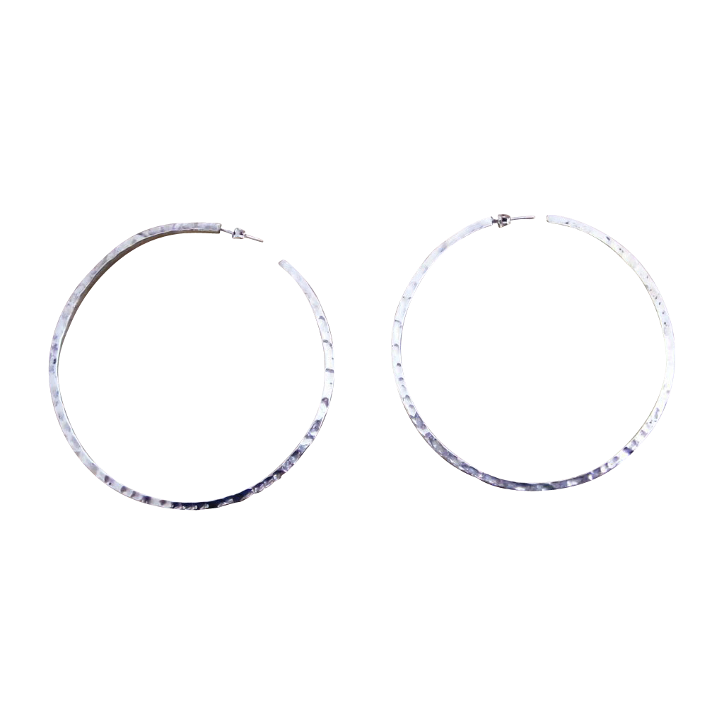 Sterling 3 Inch Groovy Vintage Hoop Earrings