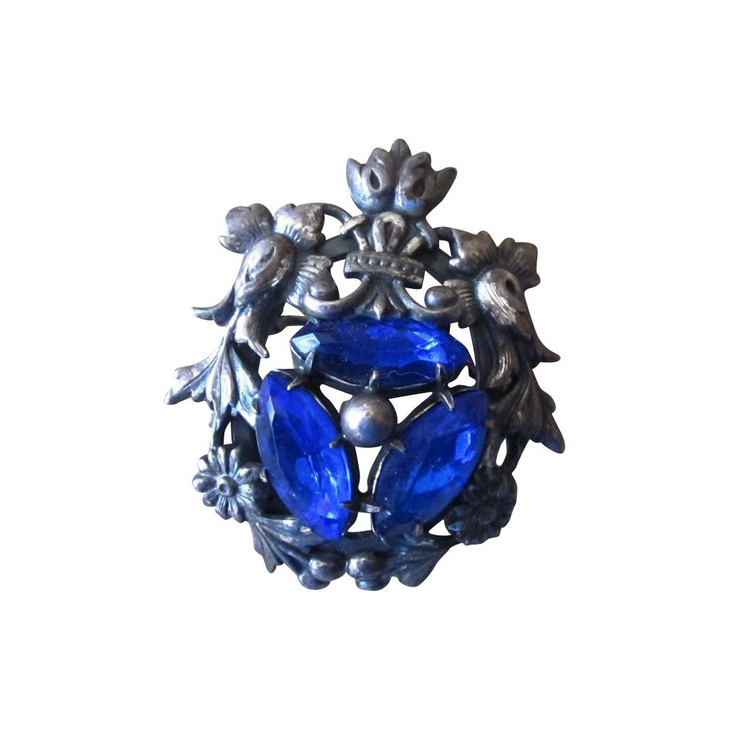 Joseff Signed Vintage Brooch in Silver Tone with Blue Rhinestones