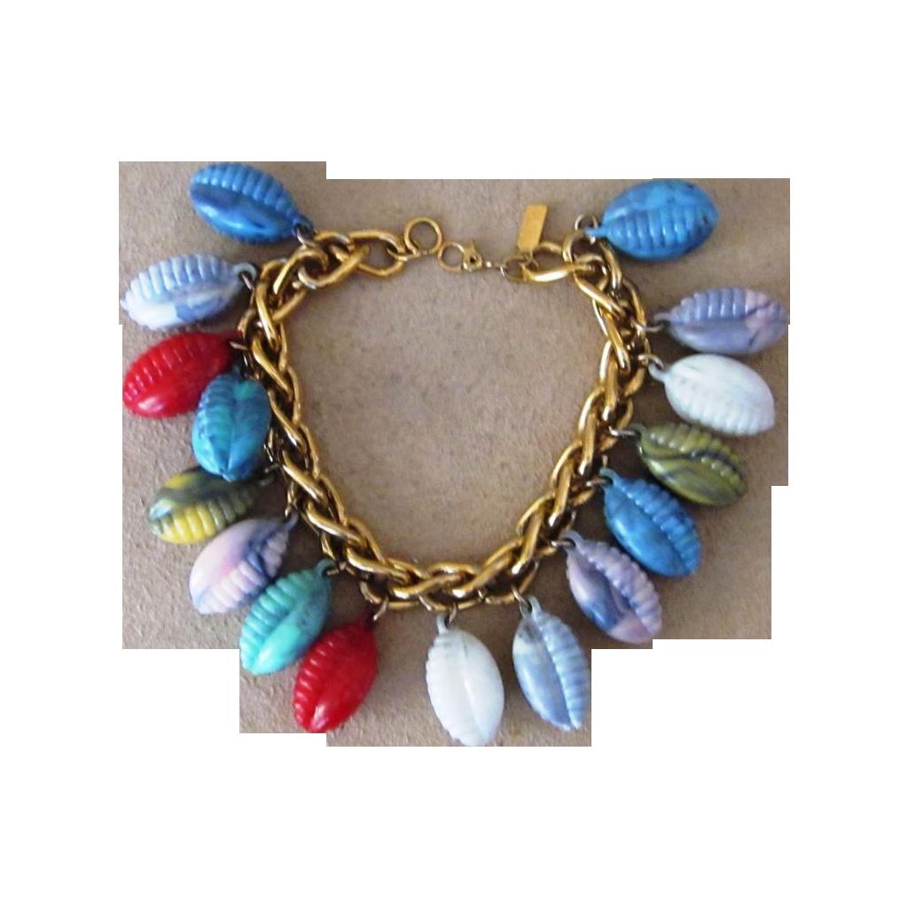 Monet Vintage  Gold Tone Bracelet assembled with Vintage Molded Charms