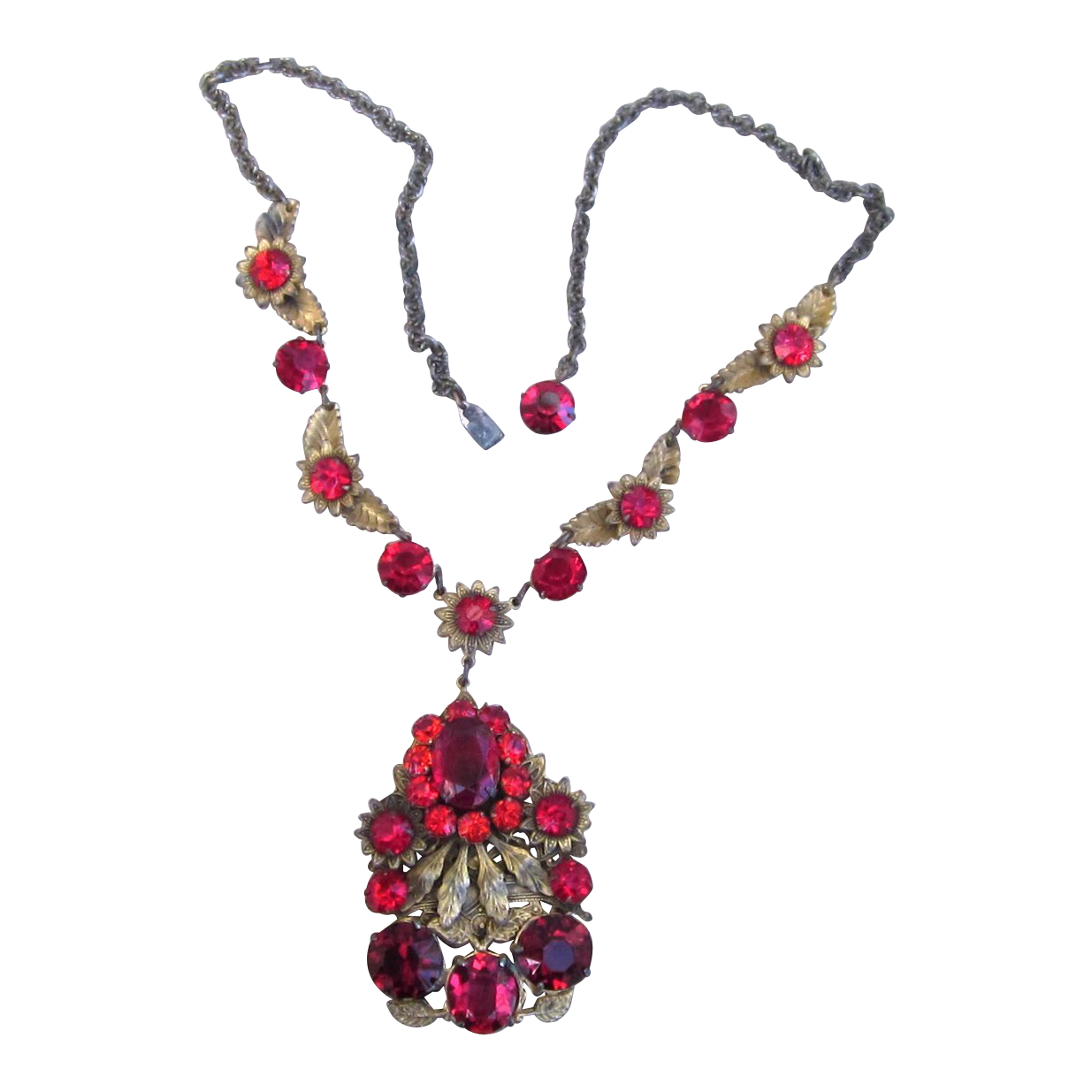 Czech Early Stunning Quality Necklace With Red Rhinestones