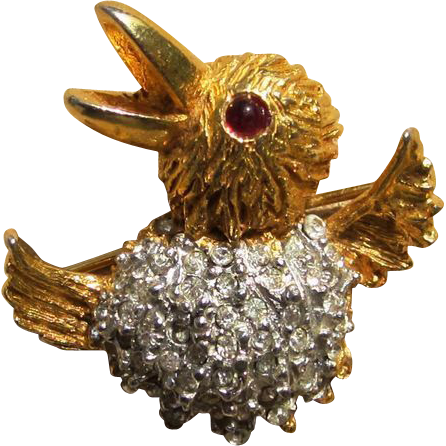 K.J.L. Kenneth Jay Lane 1960's Scatter Bird  Rhinestone Signed Pin