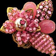 Eugene Powerful Pink Rhinestone Signed Vintage Brooch