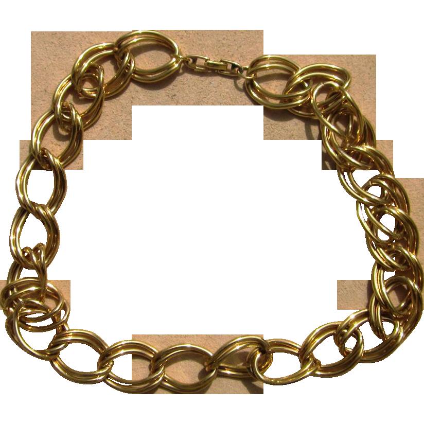Napier Double Curb Chain Heavy Vintage Signed Necklace