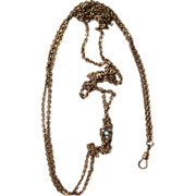 Victorian Watch Chain with Fabulous Slide Signed
