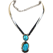Monumental Sterling and Turquoise Vintage Necklace and Pendant