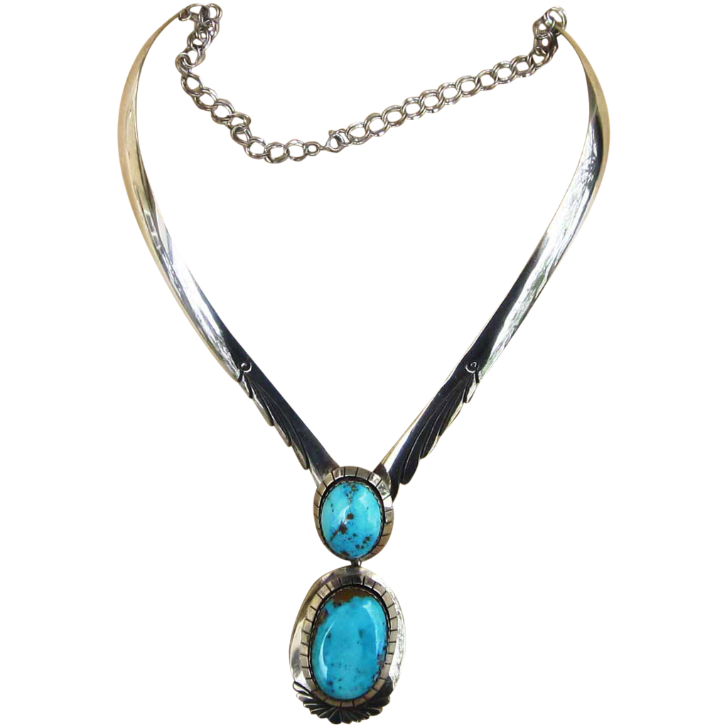 Monumental sterling and turquoise vintage necklace and for Best place to sell gold jewelry in chicago
