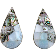 Sterling, Mother of Pear, Abalone Large Signed Pierced Vintage Earrings