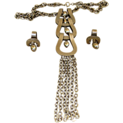 Couture Designer Vintage 8 inch Runway  Pendant Necklace and Earrings Set