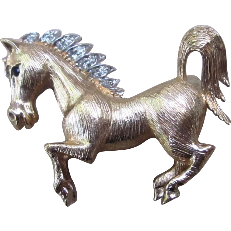 Panetta Rare Horse Figural Signed Vintage Brooch