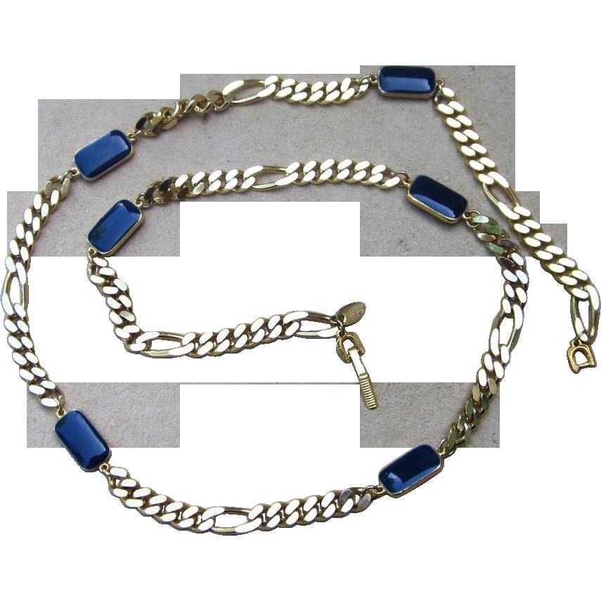 Les Bernard Stunning Curb Station Signed Vintage Necklace