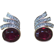 Panetta Faux Gem Pierced Vintage Earrings