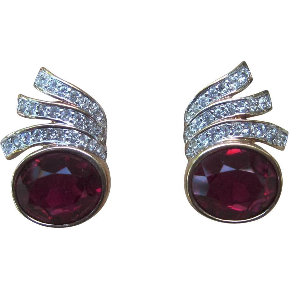 Panetta Faux Gem Pierced Vintage Earrings