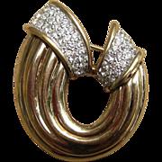 Panetta Elegant Vintage Signed Brooch with Rhinestone