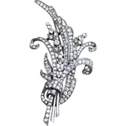 Trifari 1941 Spaney Designed Extraordinary Large  Vintage Rhinestone Brooch