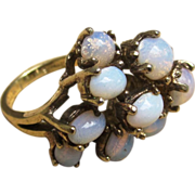 Panetta Sterling and Faux Opal Vintage Designer Cocktail Huge Ring