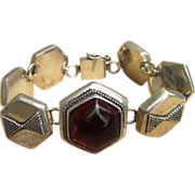 Amber and Sterling Unique Vintage Bracelet
