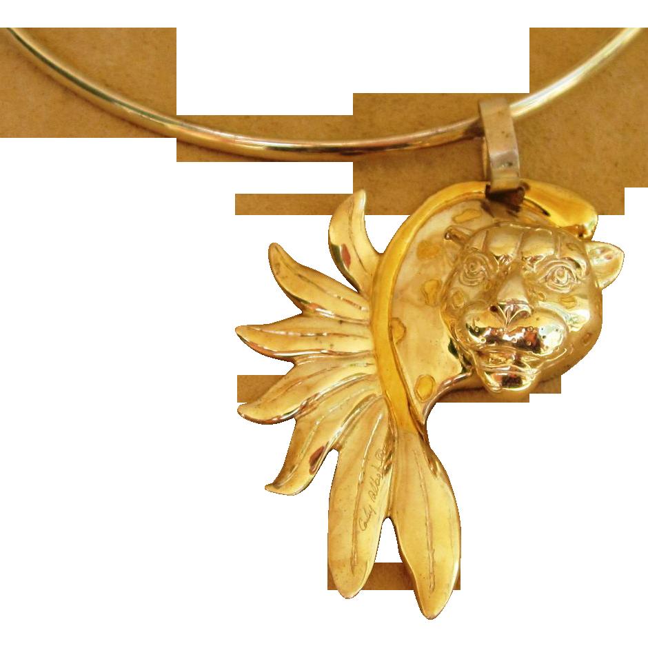 Signed over 85 grams Sterling Leopard Pendant Vintage Necklace