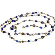 58 Inch  Crystal and Glass Bead Vintage Sautoir Necklace