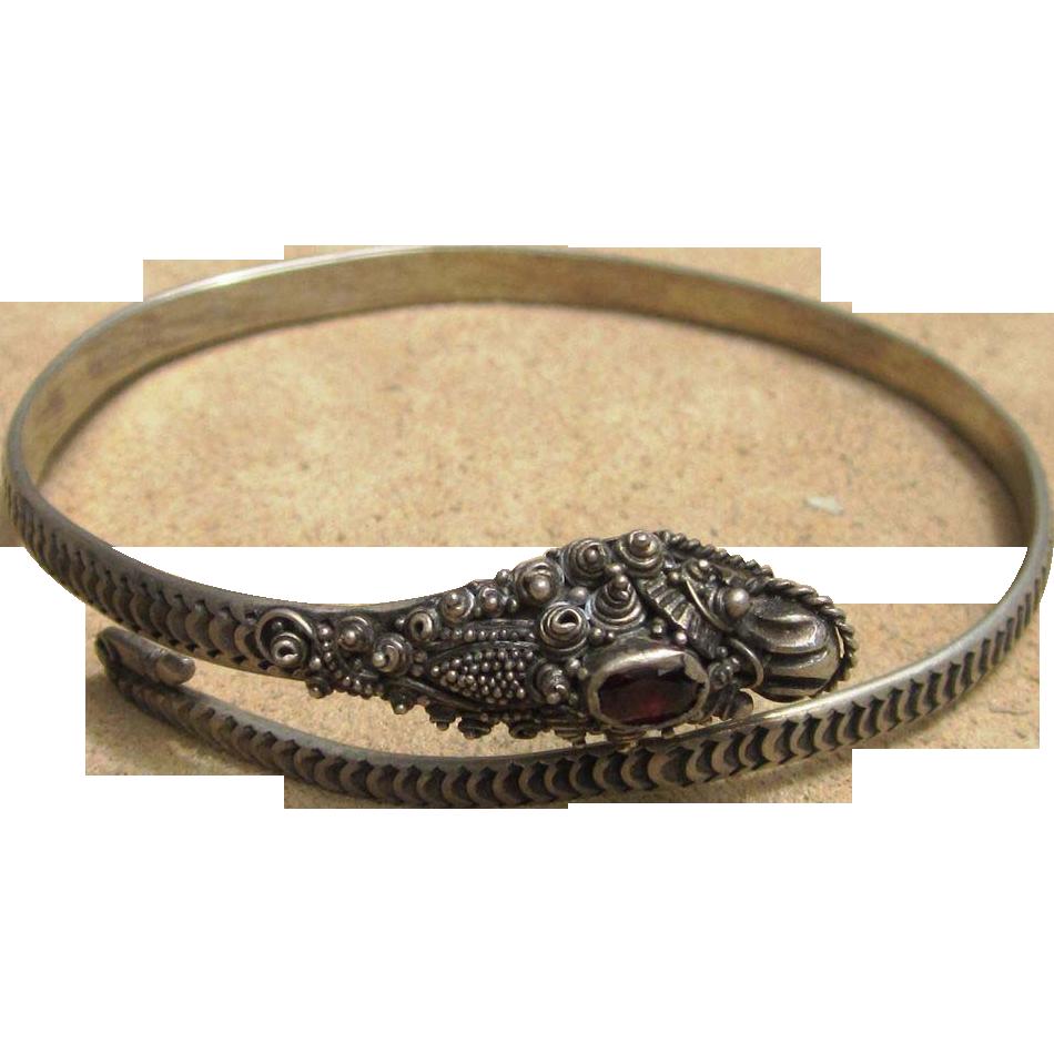 Sterling Silver Ornate Dragon Vintage Bracelet
