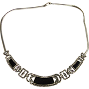 Large Marcasite, Onyx and Sterling  Silver Vintage Necklace