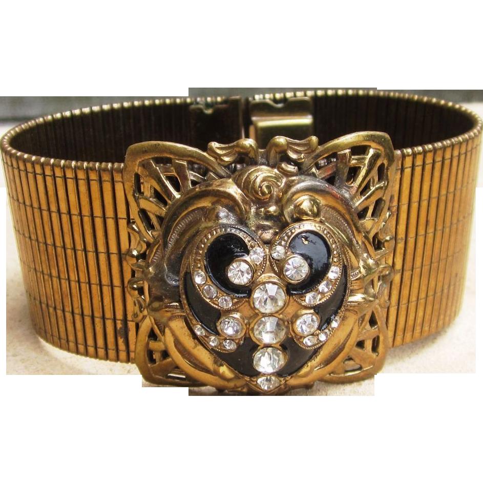 Chunky Early Wide Vintage Rhinestone Runway  Bracelet
