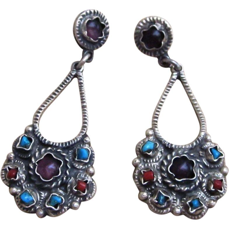 Long Sterling Mathilde Style Vintage Pierced  Earrings