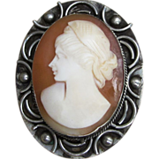 Lovely  Cameo in Sterling Silver Vintage Brooch or Pendant