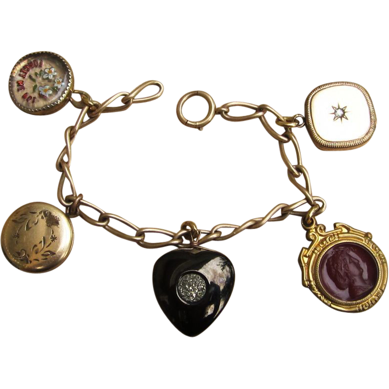 Victorian Gold Filled Charm Bracelet With Lockets and Fobs