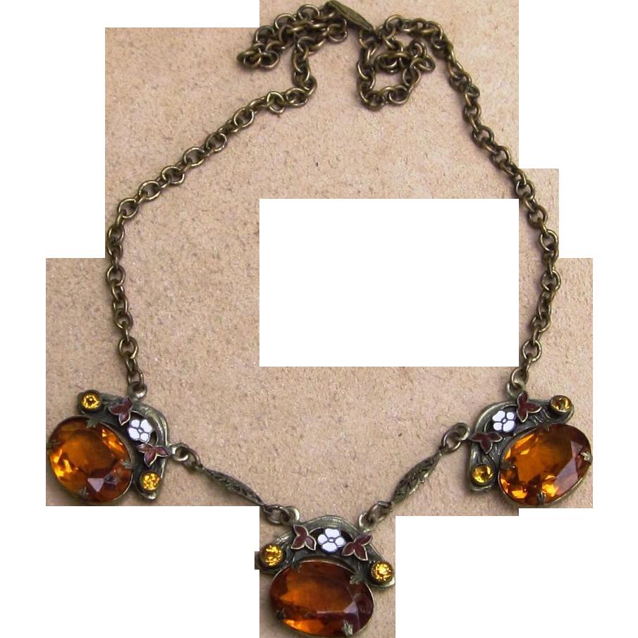 Max Neiger Vintage Czech Enamel Necklace