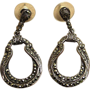 Sterling Silver and Marcasite Long Drop Pierced Earrings
