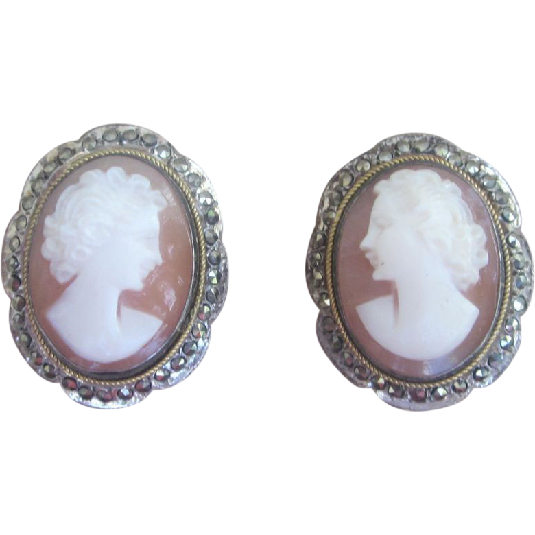 Cameo and Marcasite Vintage Stunning Earrings