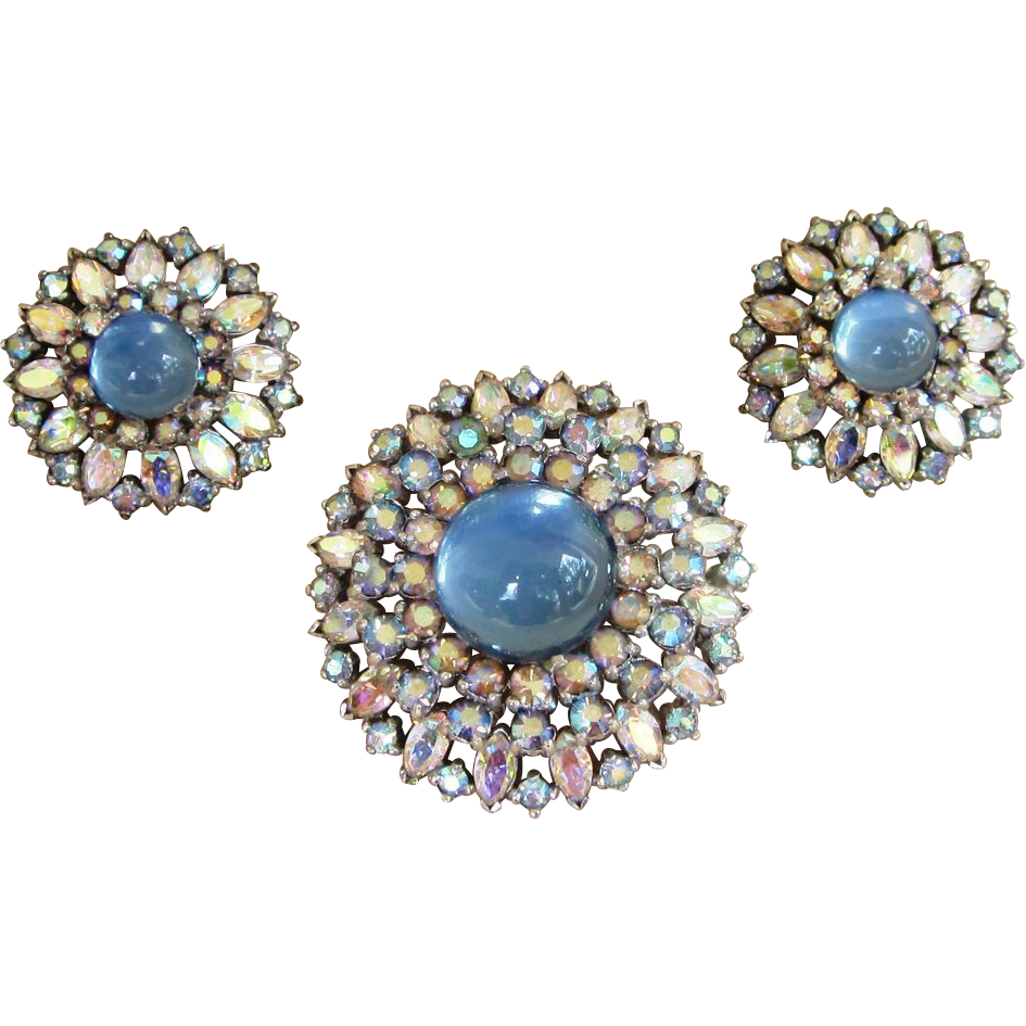 Jomaz Extraordinary Moonstone Rhinestone Vintage Brooch and Earrings