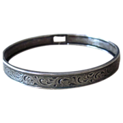 Sterling Silver Vintage Hand Forged Bangle Bracelet