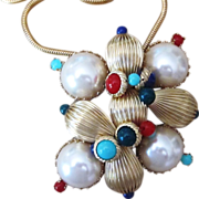 Scaasi Haute Couture 3 14 inch  Vintage Signed Brooch and Pendant