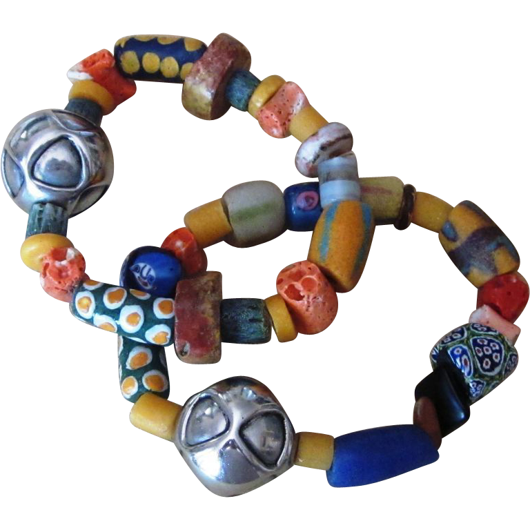 African Trade Bead and Sterling Vintage Bracelets