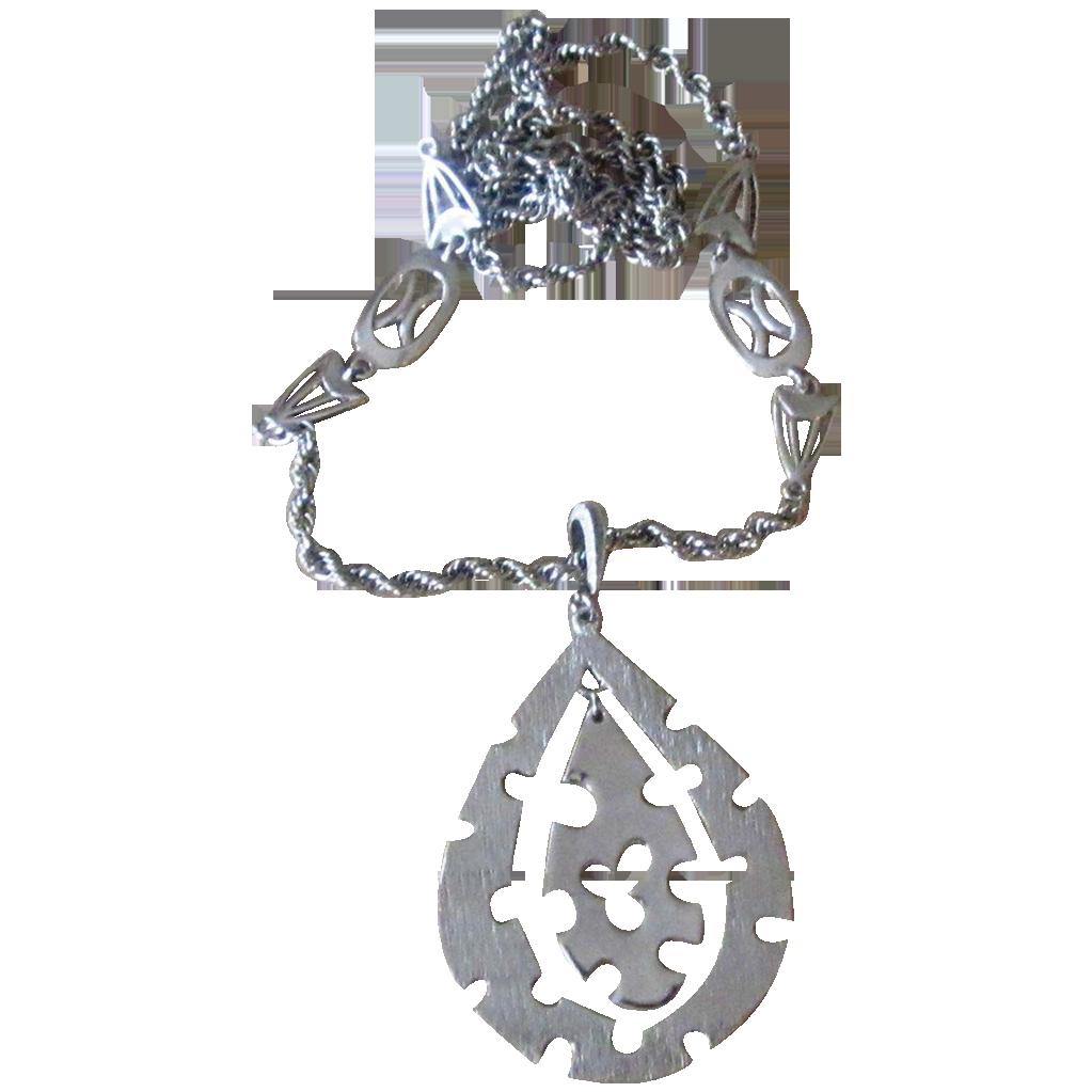 Huge Puzzle Like Pendant Vintage Necklace